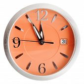Five To Twelve O'clock On Orange Dial Isolated