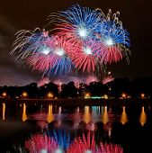 Big Fireworks With Reflection In The Lake