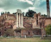 Roman ruins in Rome, Forum. Italy