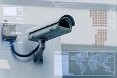 image of cctv  - CCTV Camera or surveillance technology on screen display - JPG