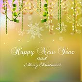 New Year Greeting Card, Christmas Bow And Ribbon