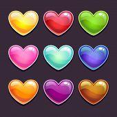 Cute cartoon glossy hearts