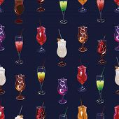 Cocktail party navy seamless pattern