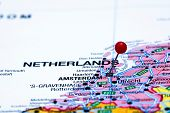Amsterdam pinned on a map of europe