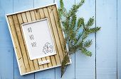 Greeting Christmas Card Frame Over Old Vintage Wooden  Background With Place For Text