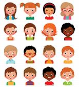image of avatar  - Vector illustration set of different avatars of boys and girls on a white background - JPG