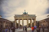 BERLIN, GERMANY- April 8, 2014: Brandenburg Gate (Brandenburger Tor) famous landmark in Berlin, Germany,rebuilt in the late 18th century as a neoclassical triumphal arch. April 8, 2014 in Berlin