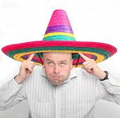 I am Mexican! Funny picture of man with colorful sombrero.