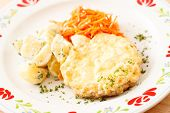 schnitzel with potatoes and salad