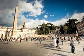 ROME, ITALY - NOVEMBER 8, 2014: Piazza del Popolo is a large urban square in Rome, Italy.