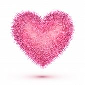 Pink fluffy isolated vector heart