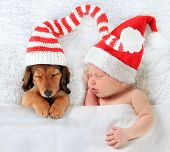 Newborn Christmas baby and young puppy wearing Santa hats, asleep on a blanket.