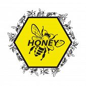 design with bee and honeycomb