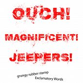Grunge Rubber Stamp With Text Ouch Magnificent Jeepers ,vector Illustration