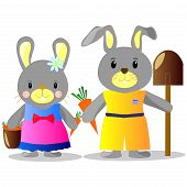 Illustration Of Bunnies With Carrots And Shovel, Bucket