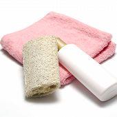 Liquid Soap Loofah And Towel