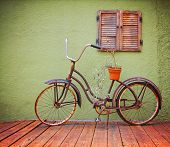 a bike on a deck in summer done with a retro vintage instagram filter