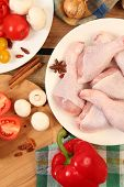 Raw chicken legs prepared for cooking