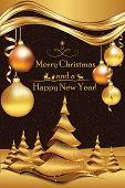 Golden brown winter holiday greeting card