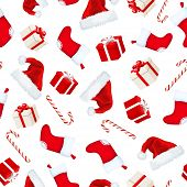 Christmas seamless background with Santa hats, socks, gift boxes and candy canes. Vector illustratio