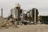 pic of earth-mover  - concrete processing plant hard at work in a welsh mine in north wales UK - JPG