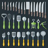 flat kitchenware cutlery tools set