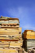 Formwork Shuttering Wood Board Stacked Blue Sky poster