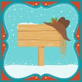 Cowboy Christmas Card With Western Hat And Wood Board Background