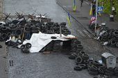 KIEV, UKRAINE - APR 19, 2014:Downtown of Kiev,vandalised during Revolution of Dignity April 19, 2014 Kiev, Ukraine