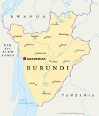 stock photo of burundi  - Burundi Political Map with capital Bujumbura - JPG