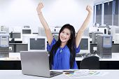 Woman Celebrate Her Achievement In Office