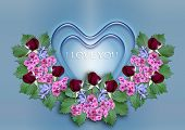 Blue hearts with a wreath of flowers on a blue background