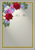 White square frame with an angle of flowers and leaves