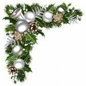 stock photo of fir  - Vector Christmas decorative corner with silver balls - JPG
