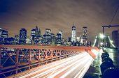New York City Night Skyline From Brooklyn Bridge
