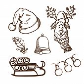 Christmas and New Year objects collection
