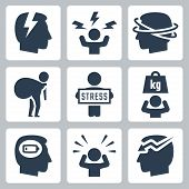 foto of stress  - Stress and depression related vector icon set - JPG