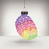 picture of fingerprint  - A Colorful Fingerprint Hung by a Binder Clip for Print or Web - JPG
