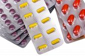 stock photo of penicillin  - Medicine pills and capsules packed in blisters isolated on white background - JPG