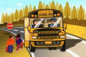 image of bus driver  - A vector illustration of school bus driver and kids - JPG