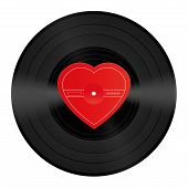 stock photo of lp  - LP record with blank heart shaped center that can be labeled with a love song or any message of love - JPG