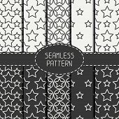 pic of starry  - Set of geometric seamless pattern with stars - JPG