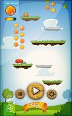 foto of status  - Illustration of a funny spring graphic jump game user interface background in cartoon style with basic buttons and functions status bar vintage retro background for wide screen tablet - JPG