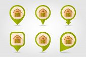 foto of barn house  - Barn house flat mapping pin icon with long shadow eps 10 - JPG