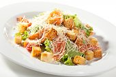 picture of caesar salad  - Caesar Salad with Salmon - JPG