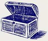 picture of treasure chest  - Open Treasure chest Doodle style - JPG