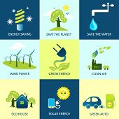 picture of save water  - Ecology concepts set with energy planet water saving icons isolated vector illustration - JPG
