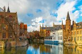 stock photo of rosary  - Scenic cityscape with a medieval fairytale town from the quay Rosary - JPG