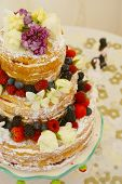 pic of sponge-cake  - Vintage Style Victoria Sponge wedding cake decorated with fruit and flowers - JPG