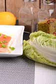 picture of water cabbage  - Slice of red fish salmon and fresh cabbage - JPG